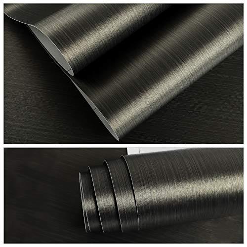 VEELIKE Carta da Parati Spessa Carta Adesiva Effetto Metallo Nero e Oro Muro Cucina Pellicola Adesiva per Mobile Rivestimento Parete Mobili Adesivo 40cm x 300cm