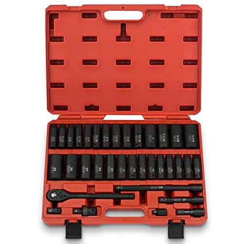 Neiko 02446A 1/2-Inch Drive Deep Impact Socket Master Set with Accessories, 35-Piece | SAE and Metric | CR-V Steel