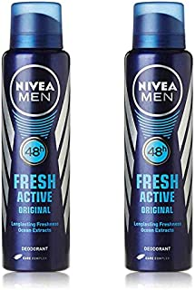 2 Lots X Nivea Fresh Active Original 48 Hours Deodorant, 150ml