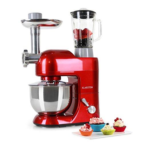 Klarstein Lucia Rossa keukenmachine-mixer (1200 watt, 5 liter mengkom, vleesmolen, fruitpers,) rood