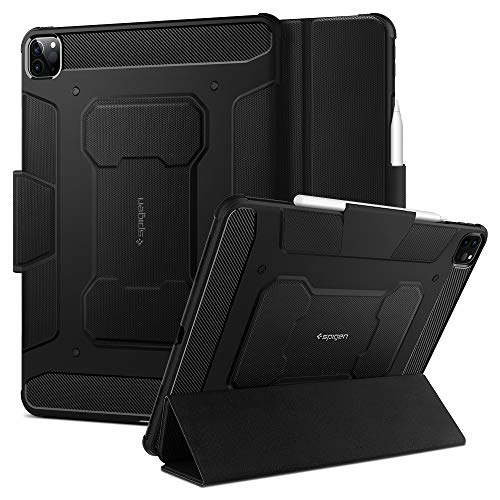Spigen Rugged Armor Pro Compatible with iPad Pro 12.9 Case with pencil holder (2020/2018) - Black