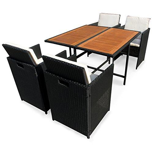 IND-70082-FASE5 Gartenmöbel Set Faro, Garten Garnitur Sitzgruppe aus Polyrattan Geflecht und Holz - 5-teilig - Tisch + 4 x Stuhl mit Auflage