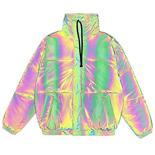 DUTUI Chaqueta de algodón reflectante con superficie brillante para hombre y mujer en invierno, con cuello alto, grueso y cálido, talla S