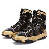 XFQ Zapatos Adultos De Boxeo, Lucha Unisex Formadores Botas Buffer Antideslizante Transpirable Zapatillas De Deporte De Lucha De La Aptitud,Oro,44EU