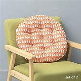 Conjunto de 2 Ronda de algodón de lino silla del asiento de ratón Impresión Espesar acolchado amortiguador del conjunto de acolchado transpirable diseño del asiento Cojines 40x40 for Comedor Cocina Ja