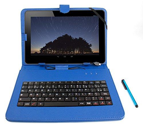 DURAGADGET Stand de Support Bleu avec Clavier AZERTY 7 Pouces intégré pour QILIVE Tablette Tactile 7 Pouces Kids pour Enfants + Stylet Tactile Bonus - Garantie 2 Ans