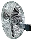 Comfort Zone CZHVW30 High-Velocity Industrial 2-Speed Black Wall Fan with Aluminum Blades and Adjustable Tilt – 30'
