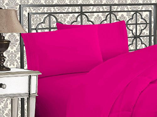 Elegant Comfort Luxurious 1500 Thread Count Egyptian Three Line Embroidered Softest Premium Hotel Quality 4-Piece Bed Sheet Set, Wrinkle and Fade Resistant, Queen, Hot Pink
