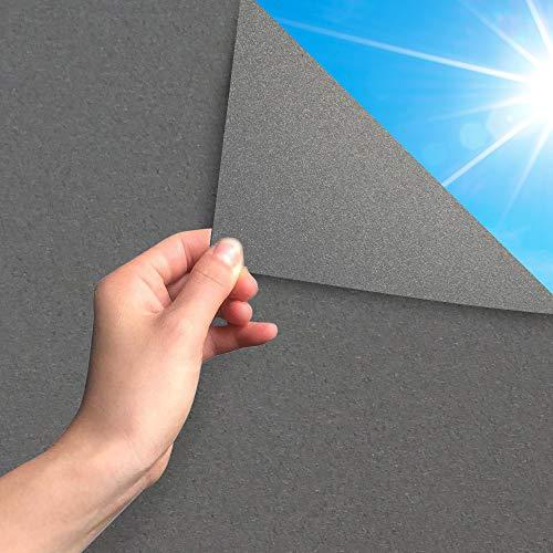 MARAPON ® Sichtschutzfolie Fenster in Anthrazit [45x200 cm] inkl. eBook mit Profitipps - Fensterfolie selbsthaftend Blickdicht mit statischer Haftung - Milchglasfolie