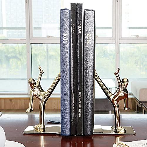 YAOLAN Sujetalibros Pequeño de Acero Inoxidable, Resistente Antideslizante Apoyalibros para la Biblioteca del Dormitorio Material Escolar Artículos de Papelería, 1 Pares