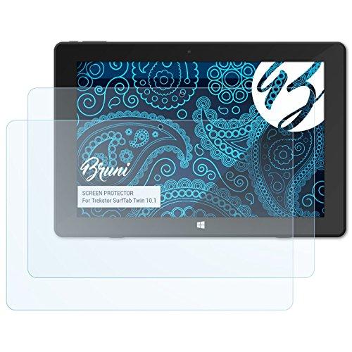 Bruni Schutzfolie kompatibel mit Trekstor SurfTab Twin 10.1 Folie, glasklare Displayschutzfolie (2X)
