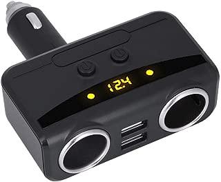 Cuque 2 Car Cigarette Lighter Socket 12V 24V 3.1A Dual USB Charger Adapter Automotive Cigarette Lighter Splitter Ajustable Power Outlet Socket with LED Voltmeter 2 Independent Switches(Black)
