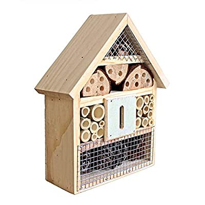 Beaks And Paws B&P Insect Hotel for Beneficial Bug Bees Butterfly, Natural Wooden House