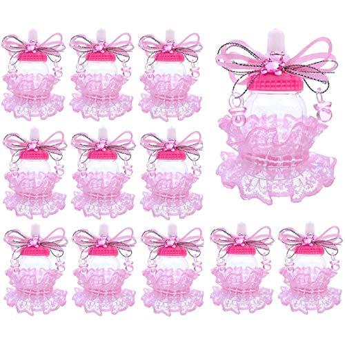 JZK 24 x Rosa biberon Bottiglia bottiglina bottigliette portaconfetti bomboniere per Battesimo Nascita Comunione Compleanno Bimba Bambina