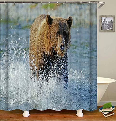 Brown Bear In The Water. Size: 180X180Cm. Includes 12 C-Shaped Hooks. It Dries Quickly And Does Not Fade. Curtain Shower Curtain Background Cloth.