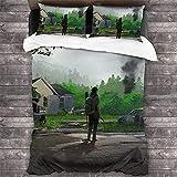 AZCCDM The Last of Us - Juego de ropa de cama con impresión 3D Joel para niños, juego de aventura, juego de supervivencia, 3 piezas, suave y cómodo (C4,220 x 240 cm + 80 x 80 cm x 2)