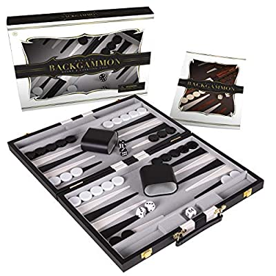 Crazy Games Backgammon Set - Classic 14.75 Inch Backgammon Sets for Adults Board Game with Premium Leather Case - Best Strategy & Tip Guide (Black)