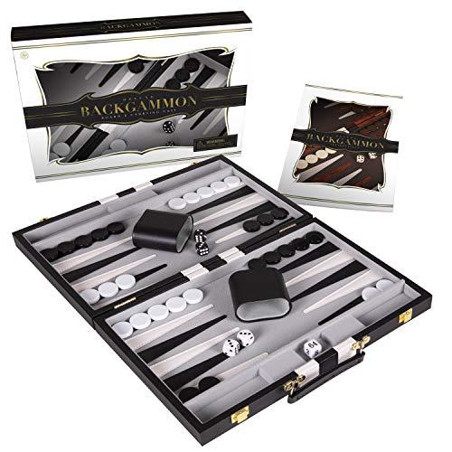 Crazy Games Juego de backgammon clásico de 14.75 pulgadas, juego de mesa para adultos con funda de cuero de primera calidad, guía de estrategia y consejos (negro)