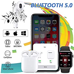 Wireless Earbuds, Bluetooth Headset Mini Size, Stereo in-Ear Wireless Headset with Microphone and Charging Box, Bluetooth Earphone with Noise Reduction Compatible with……