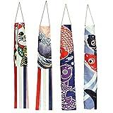 SOIMISS 4 Stück Japanische Karpfen Windsack Streamer Fisch Flagge Drachen Dekorative Wind Flagge im Freien Hängende Dekorationen Geschenke für Hausgarten Sushi Bar Restaurant