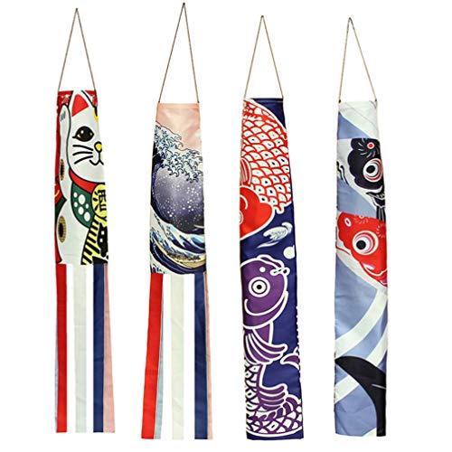 SOIMISS 4 unidades de carpas japonesas con diseño de dragones de pescado y banderas decorativas para colgar al aire libre como regalo para el jardín, sushi, bar o restaurante
