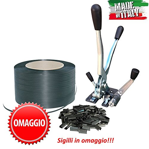 KIT REGGITURA ROTOLO REGGETTA REGGIA 15 mm 750 m TENDIREGGIA MANUALE + SIGILLI
