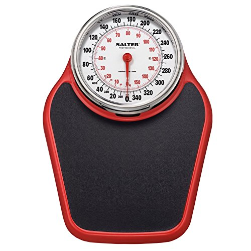 Salter Professional Analog 400lb Capacity Bathroom Scale/Black/Red