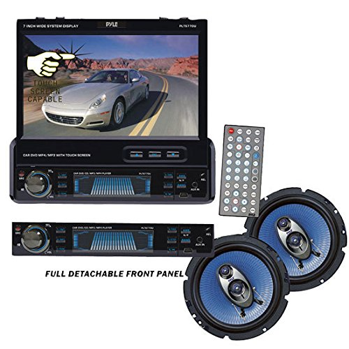 Pye Compee Audio/Video Pakage fo he Ca/Tuk/SUV, PLTS77DU 7-Ih Sige-DIN I-Dash Mooized TFT/LCD Touhsee Moio Reeive wih DVD/CD/MP3/MP4/USB/SD/AM-FM/RDS + PL63BL Pai of 6.5-Ih 360-Wa 3-Way Speakes