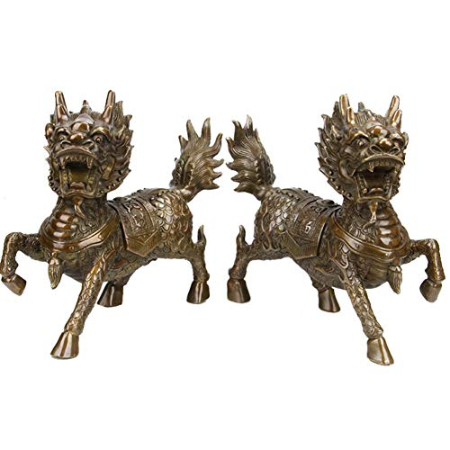J.Mmiyi A Pair of Chinese Feng Shui Decoration, Brass Chi Lin/Qi Lin Statue, Wealth Figurine Sculpture Home Decor, Attract Wealth And Good Luck,Set