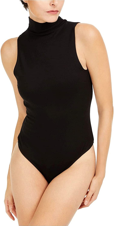 bar III Womens Mock-Neck Bodysuit, Black, Size XS
