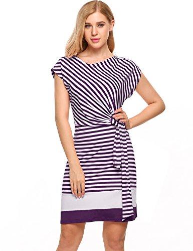 Meaneor dames gestreepte jurk zomerjurk stretch Jersey korte mouwen etui jurk in nauwsluitende pasvorm