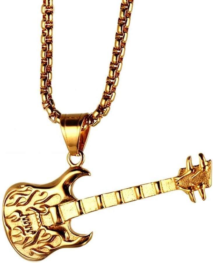 YQMR Colgante Collar para Mujer,Collar Vintage De Mujer Dorado Gótico Grabado Guitarra Colgante Joyería Clásica Regalo para Mamá Cumpleaños Amistad Familia