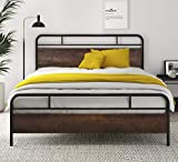 SHA CERLIN Heavy Duty Full Size Bed Frame with Modern Wood Headboard, Metal Platform Bed with Frosted Iron Frame, 12' Under Bed Storage, Noise Free, No Box Spring Needed, Dark Brown