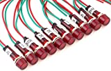 Pack of 10 YuCo YC-9WRT-1R-120-10 RED 9MM LED Indicator Miniature Pilot Light 120V AC or DC