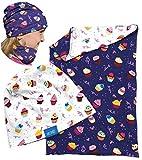 HECKBO Kinder Mädchen Beanie Mütze + Loop-Schal Set, Wendemütze mit Cookies Kuchen Motiv, One Size: 2 bis 8 Jahren, 95% Baumwolle, weiches & pflegeleichtes Stretch-Material - für jede Jahreszeit