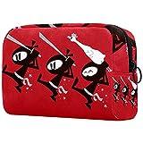 Bolsa de maquillaje de viaje Ninja bolsa grande para cosméticos Estuche organizador con cremallera para mujeres y niñas