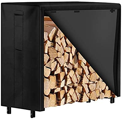 Amagabeli 4ft Firewood Rack with Waterproof Cover Combo Set Outdoor Log Holder for Fireplace Heavy Duty Wood Stacker for Patio Kindling Logs Storage Steel Tubular Wood Pile Rack Tool Accessories Black