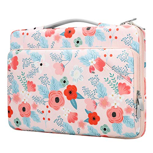 Dadanism Compatible for 13.3 Inch Laptop Bag Sleeve, 360° Protective Bag with Handle Fit MacBook Pro/Air 13', Surface Book/Laptop 13.5', Surface Pro 7/6/5/4 12.3' / Pro X 13', Spring Pink