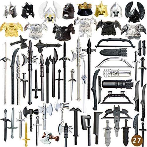PARIO 63St. Ritter Helm, Ritter Weste und Custom Waffen Set für Ritter Mini Figuren SWAT Team Polizei, kompatibel mit Lego