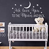 BATTOO We Love You to The Moon and Back Wall Decal - Nursery Wall Decal - Moon and Stars Nursery Decals - Children Wall Decor - Wall Decals Nursery(White, 22' WX11 H)