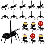 36 Pieces Halloween Spiders Bats Party Favor Decorations Ant Toothpicks Fruit Dessert Fork Realistic Ant for Snack Cake Dessert Small Size Halloween Prank Props Supplies Kid Joke Toy Home Decor