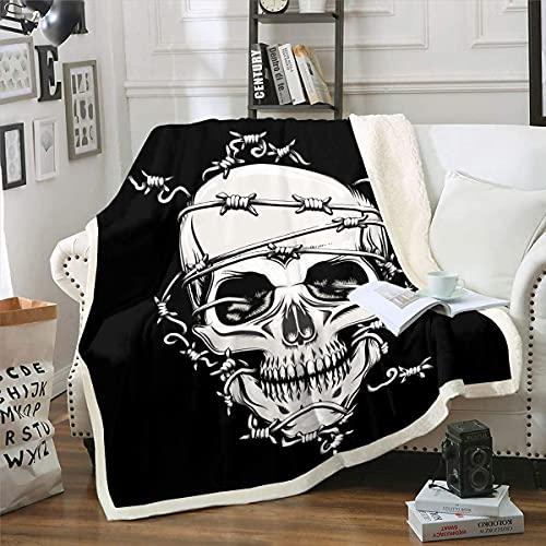 Coperta in pile con motivo a teschio, stile scheletro, coperta Sherpa, per divano e poltrona, stile gotico ossa di peluche, coperta di Halloween a tema 200 x 150 cm