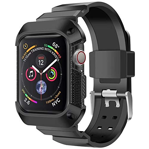 E-Cosmos Rugged Protective Case with Strap for iWatch Series 4 44 mm(Black)