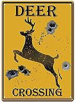 鹿の交差点金属錫サイン銃弾の穴レトロヴィンテージバーカントリー家の装飾注意黄色の掛かるアートワークプラークWallArt装飾的なヴィンテージサインギフト8X12インチ メタルプレートブリキ 看板 2枚セットアンティークレトロ