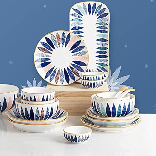 Juego de vajilla de 18 piezas, juego de vajilla de porcelana con diseño de hojas pintadas a mano con platos y tazones, juego de vajilla de cerámica para la cocina y el comedor del hogar, apto para mic