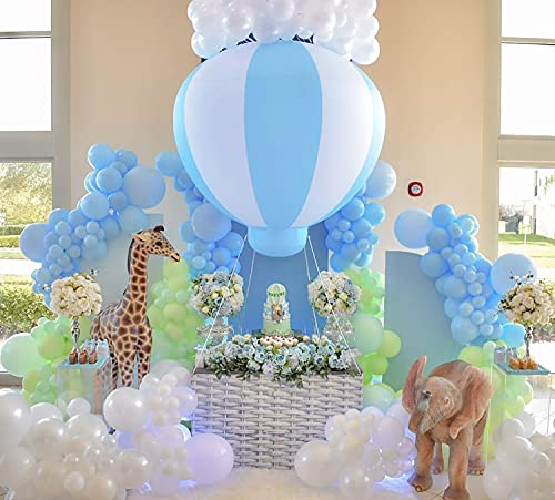 Coonoe 5ft Half Hot Air Balloon with Standing Frame, Baby Shower Party Decoration Balloon with Air Pump, PVC Inflatable Hanging Balloon for Nursery decor/Kids Birthday Party/Wedding/Exhibitions