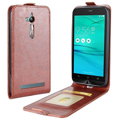 HualuBro Zenfone Go ZB500KL / ZB500KG Custodia a portafoglio in pelle PU di alta qualità con scomparti per carte di credito, per smartphone Asus Zenfone Go ZB500KL/ZB500KG (marrone)