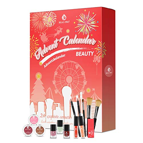 Beauty Adventskalender 2020, Kosmetik Geschenkset für Mädchen Frauen Damen Erwachsene Paare, 24 Stylische Advent Calender, Schminke und Make Up Produkte Sets Weihnachtskalender