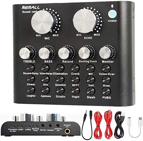 REMALL Live Sound Card for Live Streaming Voice Changer Upgraded V8 Sound Card with Effects product image