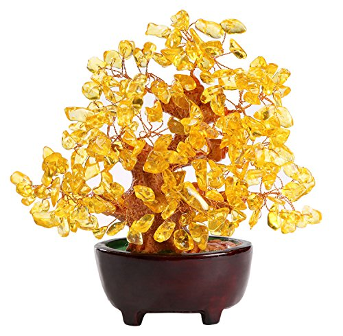 HapiLeap Árbol de Dinero, Gemas Feng Shui Adornos de árbol de Cristal curativo Figuras de árbol, ágata de geoda de Cuarzo Soporte para Oficina, Sala de Estar, decoración de Buena Suerte (Citrino)